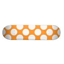 Modern Orange White Polka Dots Pattern Skateboard