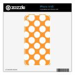 Modern Orange White Polka Dots Pattern Decals For iPhone 4S