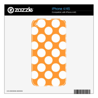 Modern Orange White Polka Dots Pattern Skins For iPhone 4S