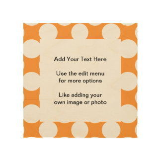 Modern Orange White Polka Dots Pattern Wood Wall Art