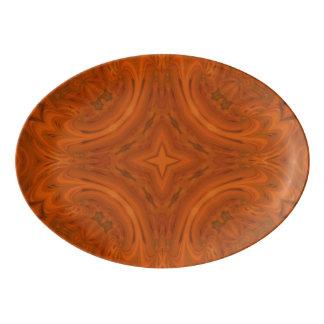 Modern Orange wood Pattern Porcelain Serving Platter