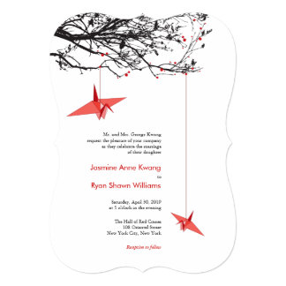 Modern Origami Hanging Paper Cranes Wedding Invite