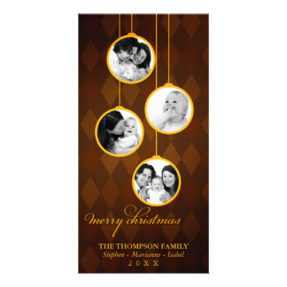 Modern Ornament Gold & Brown Merry Christmas Card