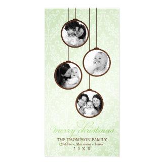 Modern Ornament Green & Brown Merry Christmas Photo Card