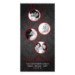 Modern Ornament Red & Black Merry Christmas Photo Card