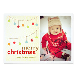 Modern Ornaments Merry Christmas Photo Card