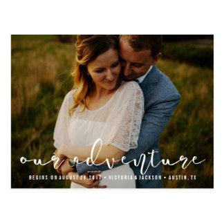 Modern Our Adventure Save the Date Photo WHITE Postcard