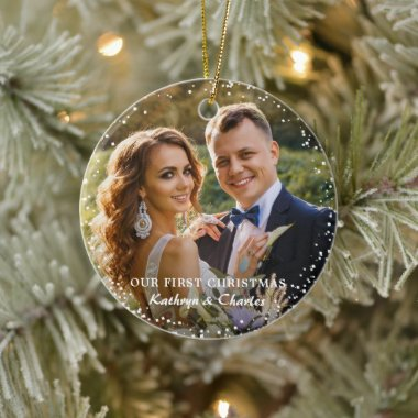 Modern Our First Christmas As Mr & Mrs Floral Ceramic Ornament
