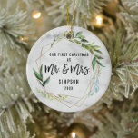 "Modern Our First Christmas As Mr & Mrs Photo Ceramic Ornament<br><div class=""desc"">Modern Our First Christmas As Mr & Mrs Photo Newlyweds Ornament</div>"