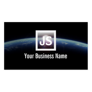 Modern Outer Space Sunrise & Earth Business Card