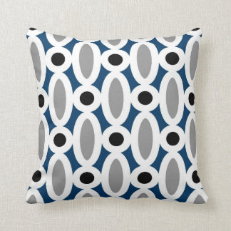 Modern Oval Links Pattern in Blue and Grey Throw Pillow