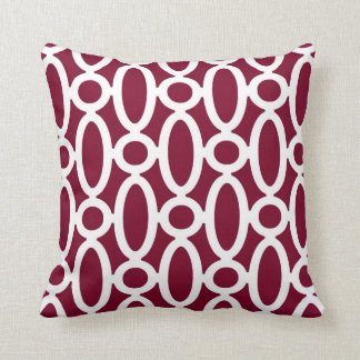 Modern Oval Links Pattern in Cranberry and White Throw Pillow