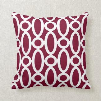 Modern Oval Links Pattern in Cranberry and White Throw Pillows
