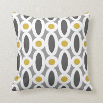 Modern Oval Links Pattern in Mustard and Grey Throw Pillow