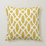 Modern Oval Links Pattern in Mustard and White Pillows