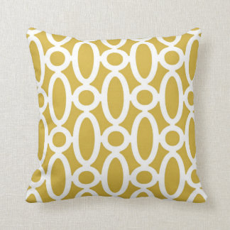 Modern Oval Links Pattern in Mustard and White Throw Pillow