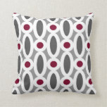 Modern Oval Links Pattern in Red and Grey Pillow