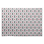 Modern Oval Links Pattern in Red and Grey Cloth Placemat