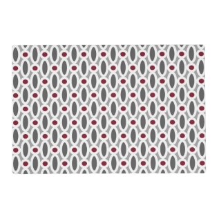 Modern Oval Links Pattern In Red And Grey Placemat at Zazzle