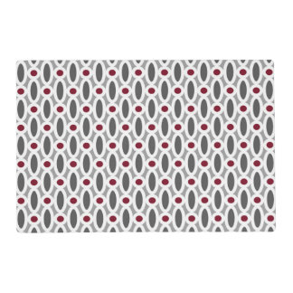Modern Oval Links Pattern in Red and Grey Placemat