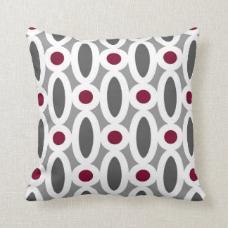 modern oval links pattern in red and grey throw pillow