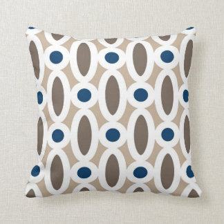 Modern Oval Links Pattern in Tan and Blue Throw Pillow