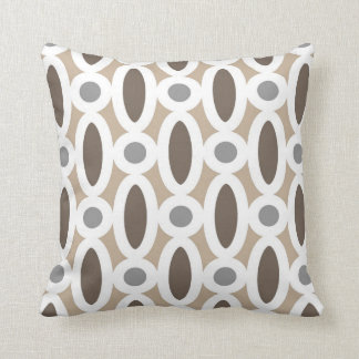 Modern Oval Links Pattern in Tan and Grey Throw Pillow