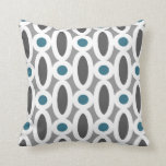 Modern Oval Links Pattern in Teal and Grey Pillows