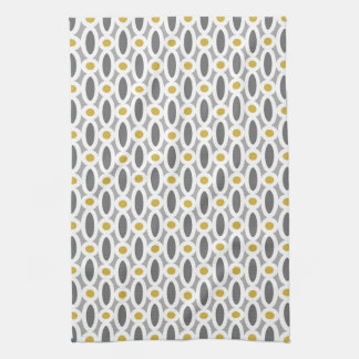 Modern Oval Links Pattern Yellow and Grey Kitchen Towel