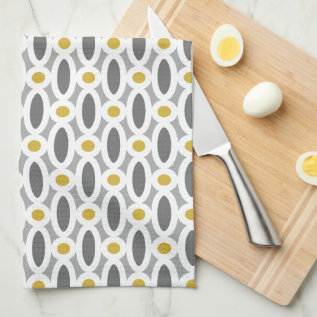 Modern Oval Links Pattern Yellow And Grey Towel at Zazzle