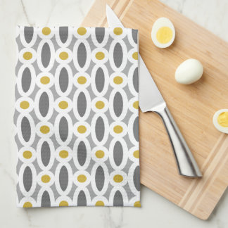 Modern Oval Links Pattern Yellow And Grey Towel