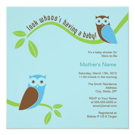 Modern Owl Baby Shower Invitation - Blue