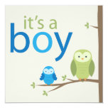 Modern Owl Baby Shower Invitation - Boy