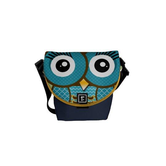 Modern Owl Copper Navy Retro Geometric Pattern Courier Bag