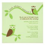 Modern Owl First Birthday Party Invitation
