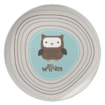 Modern Owl Light Melamine Plate