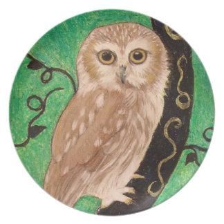 Modern Owl plate by Artist Carol Zeock