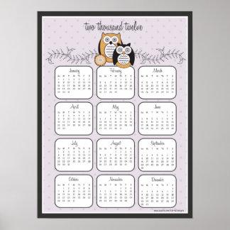 Modern Owls 2012 Calendar Poster