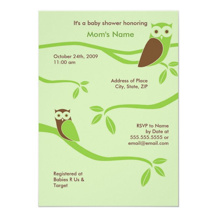Modern Owls Baby Shower Invitation