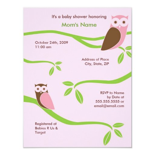 Modern Owls Baby Shower Invitation - 4.25 x 5.5