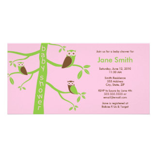 Modern Owls Baby Shower Invitation 4 x 8