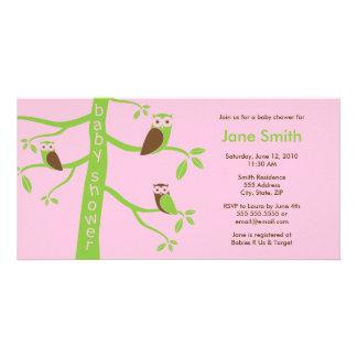 Modern Owls Baby Shower Invitation 4 x 8 Photo Card