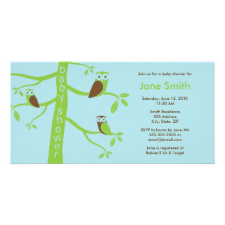 Modern Owls Baby Shower Invitation 4 x 8 Customized Photo Card