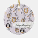 """Modern Owls """"Baby Sleeping"""" Door Hanger Ceramic Ornament"""