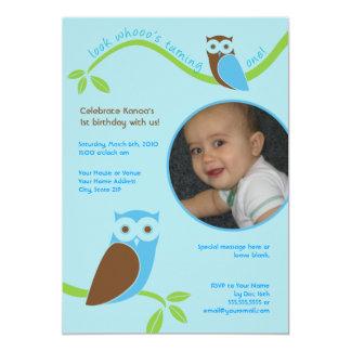 "Modern Owls First Birthday Custom Photo Invitation 5"" X 7"" Invitation Card"