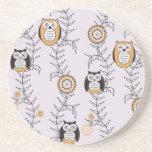 Modern Owls Patterned Coaster