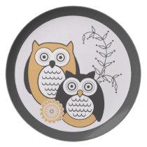 Modern Owls Plate