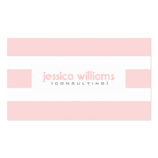 Modern Pail Pink Stripes Over White Business Card