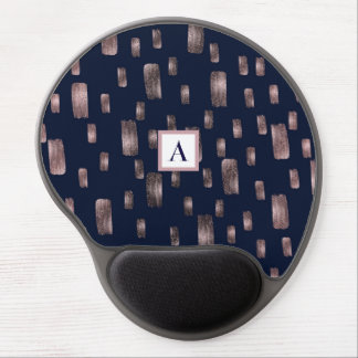 Modern Paint Brush Rose Gold & Navy Blue Sparkle Gel Mouse Pad