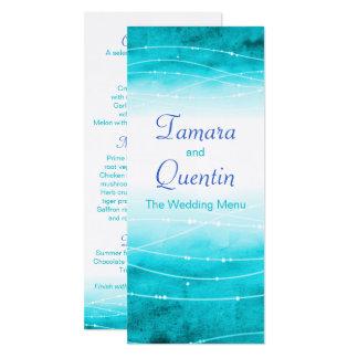 Modern painted abstact sea blue wedding menu card